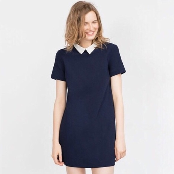 3e56c48d Zara Dresses | Navy Blue Pan Color Dress Professional | Poshmark
